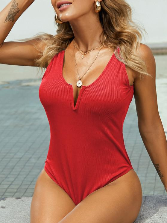 latest ZAFUL V-notch Ribbed Low Back One-piece Swimsuit - LAVA RED S