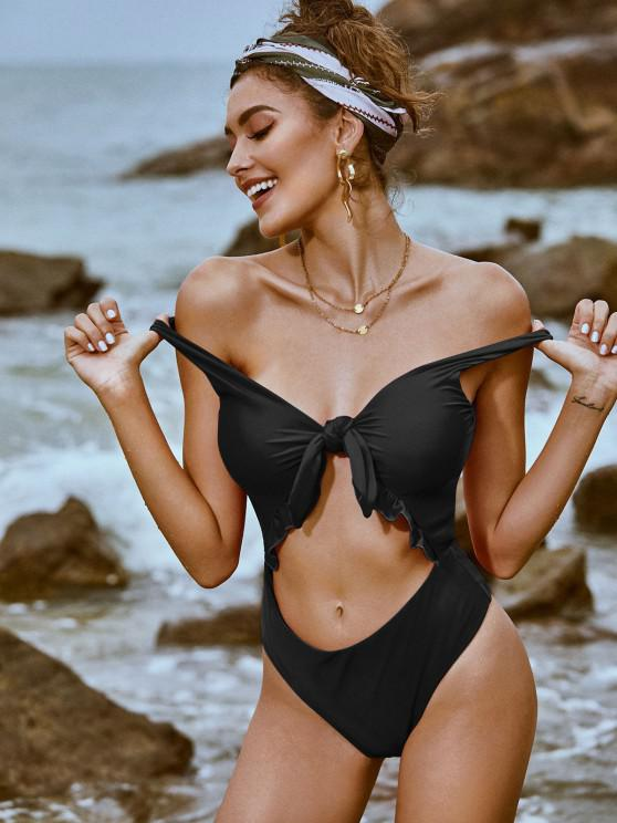 affordable ZAFUL Knot Ruffle Cutout One-piece Swimsuit - BLACK XL