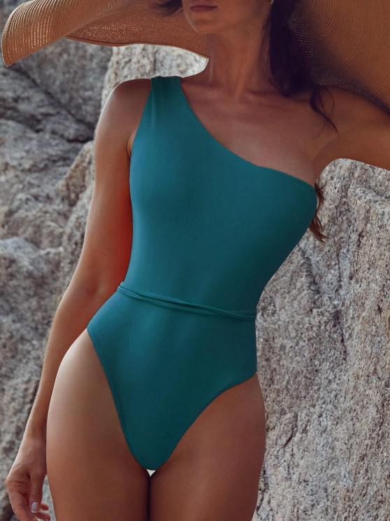 hot Belted One Shoulder One-piece Swimsuit - PEACOCK BLUE L