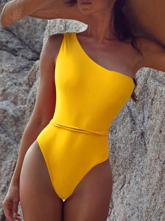 new Belted One Shoulder One-piece Swimsuit - BRIGHT YELLOW L