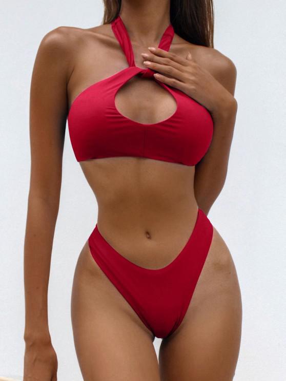 chic ZAFUL Halter Keyhole High Leg Bikini Swimwear - RED M