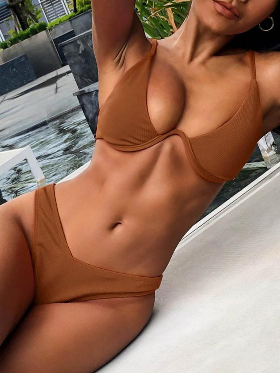 outfits ZAFUL Ribbed High Leg Underwire Bikini Swimsuit - BROWN S