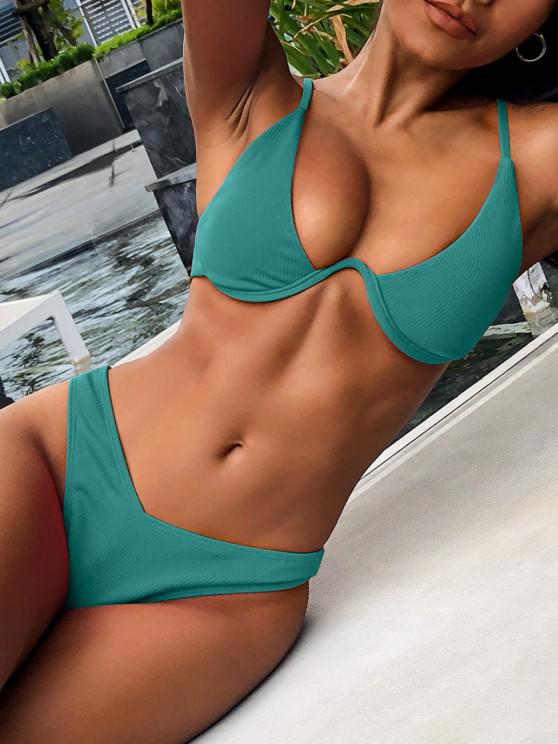 outfits ZAFUL Ribbed High Leg Underwire Bikini Swimsuit - SEA TURTLE GREEN S