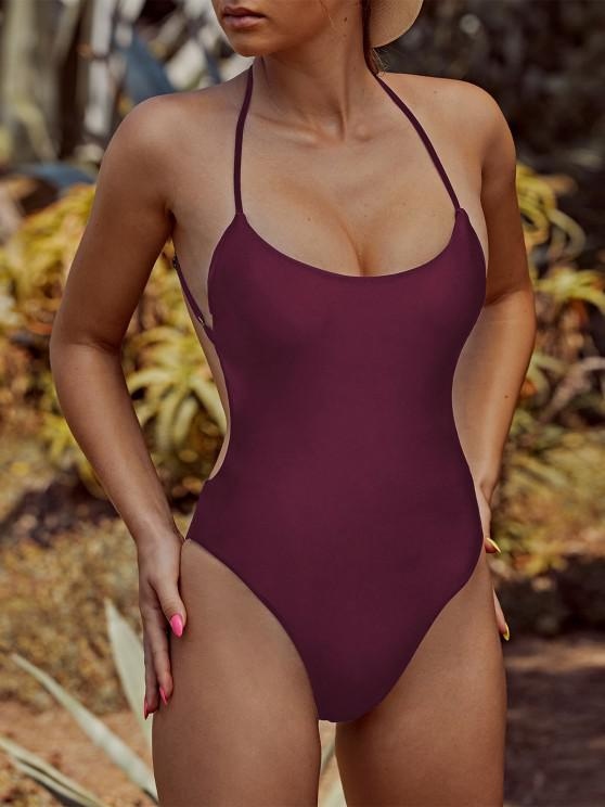 sale ZAFUL Criss Cross Backless One-piece Swimsuit - DEEP RED M