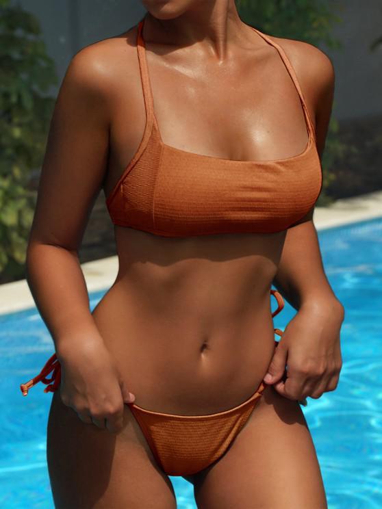 ZAFUL Quadrato Texture laccetti sui fianchi Bikini Swimsuit - marrone chiaro S