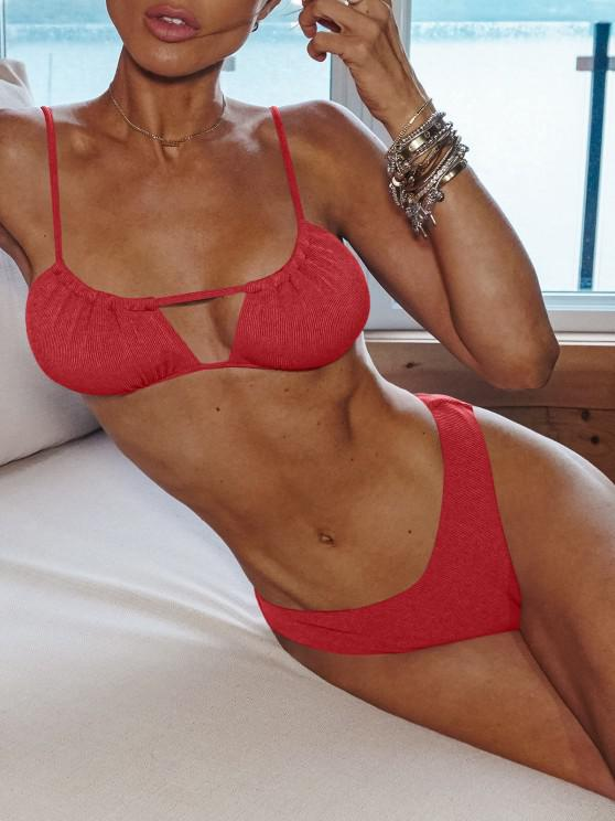 affordable ZAFUL Ribbed High Cut Ruched Tie Bikini Swimwear - RED M