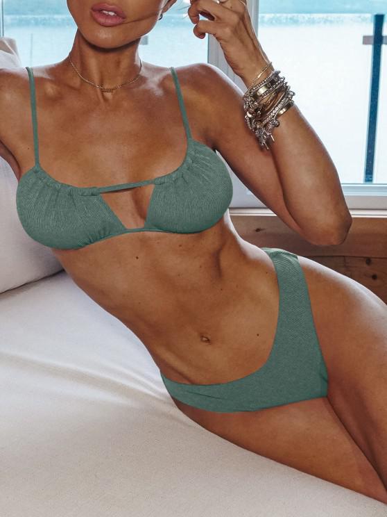fashion ZAFUL Ribbed High Cut Ruched Tie Bikini Swimwear - SEA TURTLE GREEN M