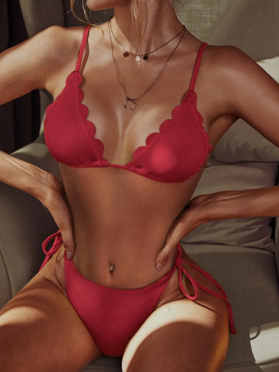unique ZAFUL Ribbed Scalloped String Bikini Swimsuit - RED M