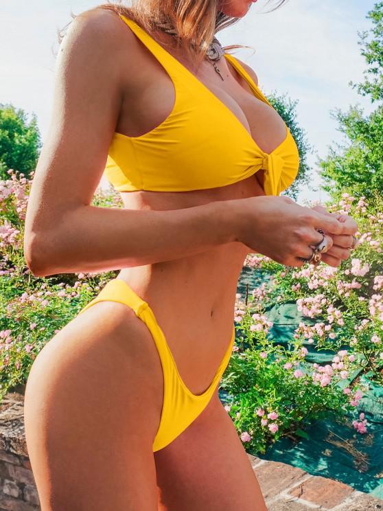 womens ZAFUL Knotted Plunge Bikini Swimsuit - YELLOW S