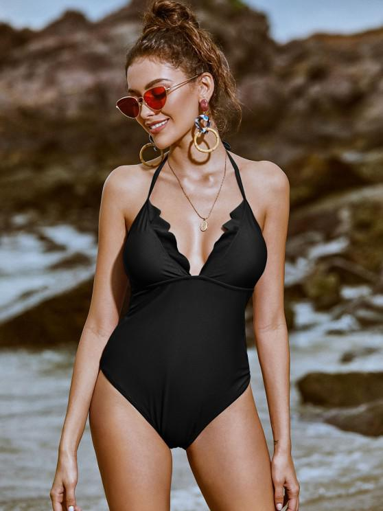 fancy ZAFUL Scalloped Halter One-piece Swimsuit - BLACK M
