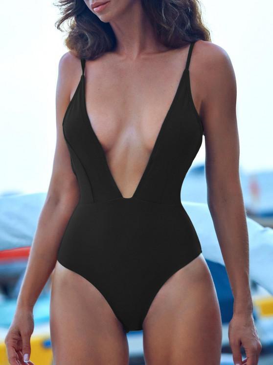 new ZAFUL Tie Shoulder Backless Swimsuit - BLACK S