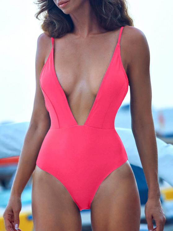 lady ZAFUL Tie Shoulder Backless Swimsuit - HOT PINK M