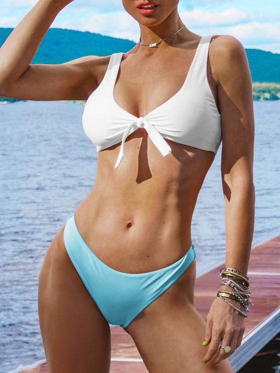 ladies Padded Knotted Bralette Bikini Set - BLUE AND WHITE L