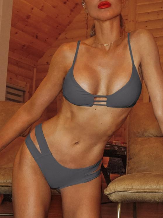 fashion Caged Bandage Bikini Swimwear - GRAY M