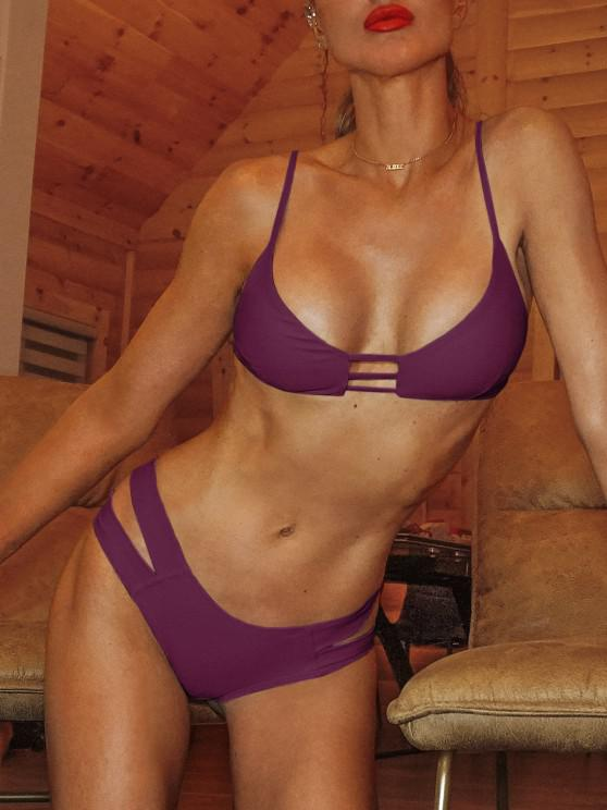 shop Caged Bandage Bikini Swimwear - BURGUNDY M