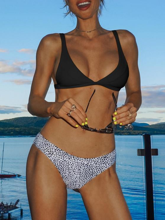 Leopard Hohe Schlitz Bikini Set - Schwarz S