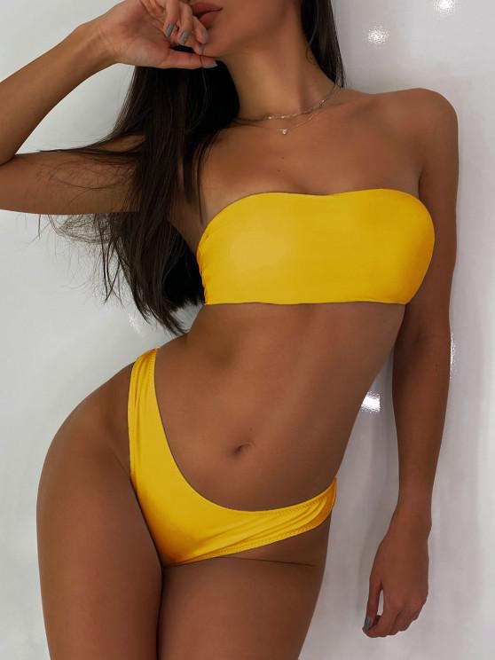 outfit High Cut Bandeau Thong Bathing Suit - YELLOW L