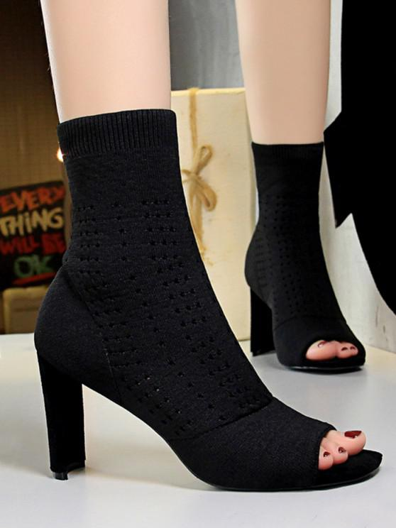 lady Knitted Hollow Out Peep Toe Chunky Heel Boots - BLACK EU 39