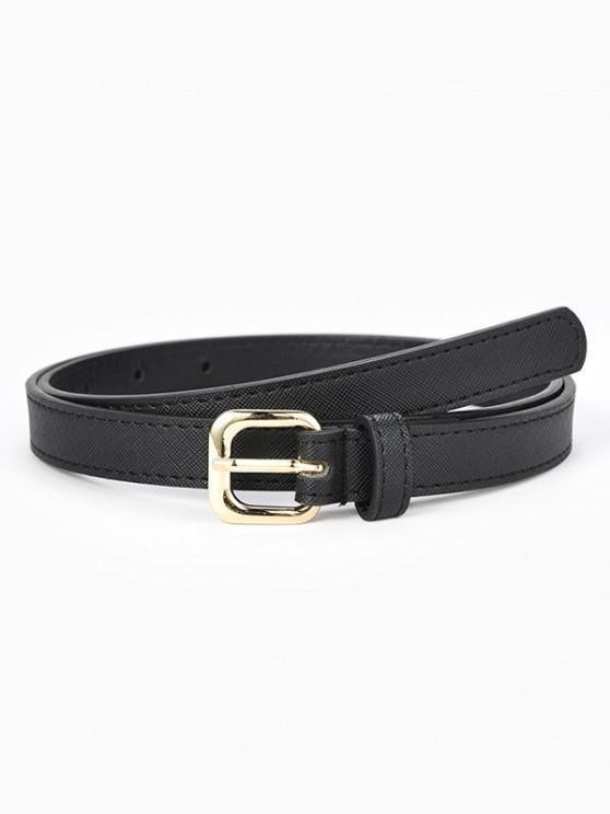 sale Textured Stitching Sleek Rectangle Metallic Pin Buckle Belt - BLACK