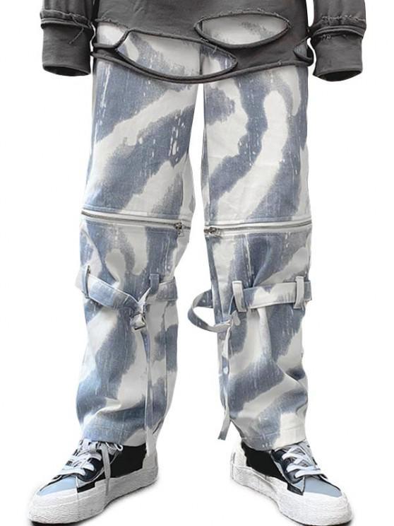 Zipper Tie Dye Wide Leg Jeans - التمويه الثلج M