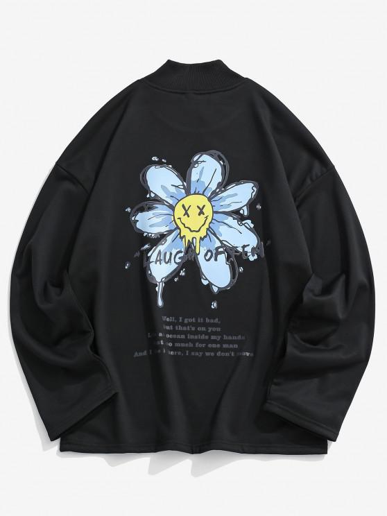 fashion Happy Face Flower Print Drop Shoulder Sweatshirt - BLACK M
