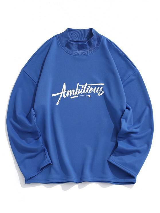 Ambitious Print Drop Shoulder Sweatshirt - أزرق 2XL