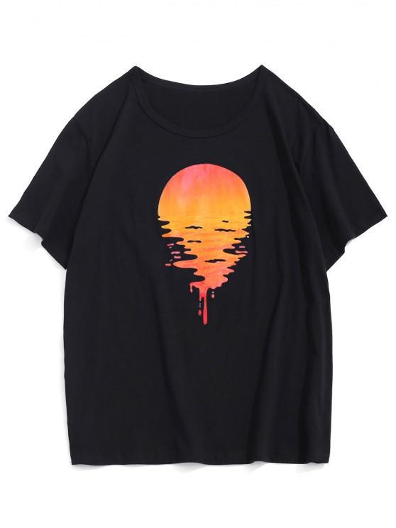 T-shirt de Manga Curta de Impressão de Pôr do Sol na Praia - Preto M