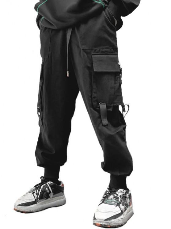 Multi Pockets Beam Feet Cargo Pants - أسود 2XL