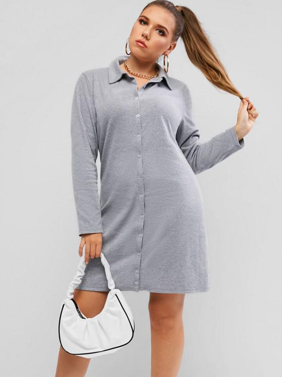 fashion Plus Size Ribbed Button Through Sheath Dress - LIGHT GRAY L