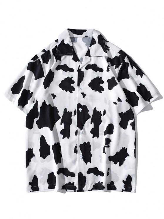 buy Cow Print Short Sleeve Shirt - WHITE M