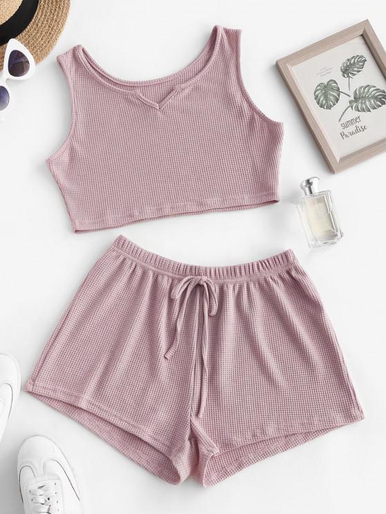 new Knit V Notch Tie Two Piece Shorts Set - LIGHT PINK S