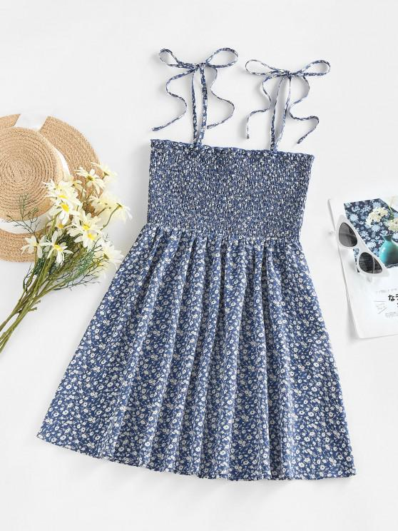 new ZAFUL Smocked Tie Shoulder Ditsy Print Dress - BLUE L