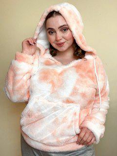 Plus Size Tie Dye Fluffy Faux Fur Front Pocket Hoodie - Arancione Chiaro 1x