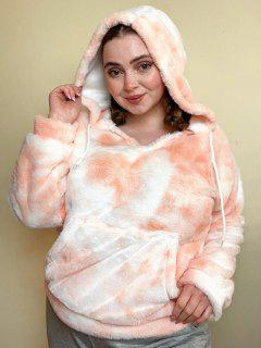 Plus Size Tie Dye Fluffy Faux Fur Front Pocket Hoodie - Light Orange 4x