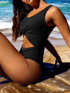 ZAFUL Ribbed Knotted Cut Out Swimsuit - Black M
