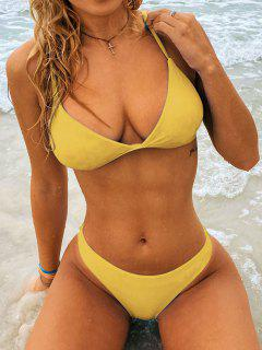 Padded Back Strappy Bathing Suit - Yellow Xl