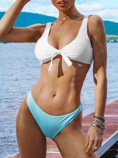 Padded Knotted Bralette Bikini Set - Blue And White L