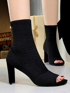 Knitted Hollow Out Peep Toe Chunky Heel Boots - Black Eu 40