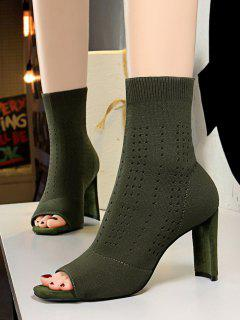 Knitted Hollow Out Peep Toe Chunky Heel Boots - Green Eu 37