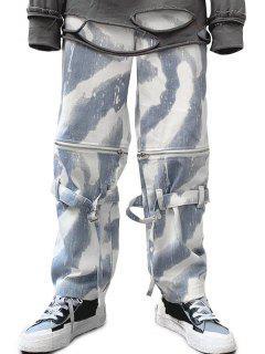 Zipper Tie Dye Wide Leg Jeans - Snow Camouflage Xs