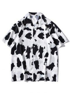 Cow Print Short Sleeve Shirt - White M