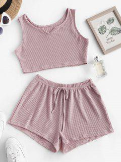 Knit V Notch Tie Two Piece Shorts Set - Light Pink S