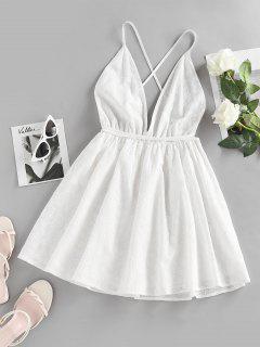 ZAFUL Broderie Anglaise Criss Cross Backless Mini Dress - White M