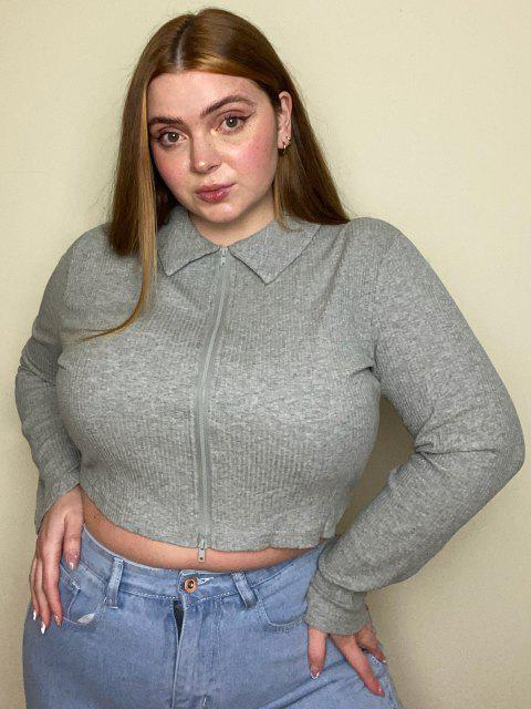 online Plus Size Ribbed Double Way Zip Crop T Shirt - LIGHT GRAY 1XL Mobile