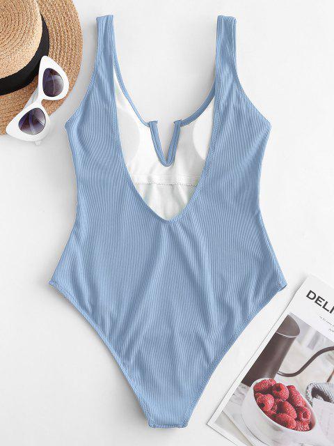 buy ZAFUL V-notch Ribbed Low Back One-piece Swimsuit - LIGHT BLUE S Mobile