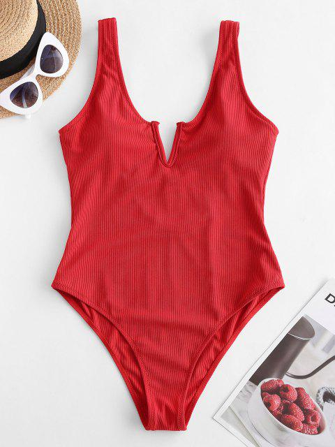 latest ZAFUL V-notch Ribbed Low Back One-piece Swimsuit - LAVA RED S Mobile