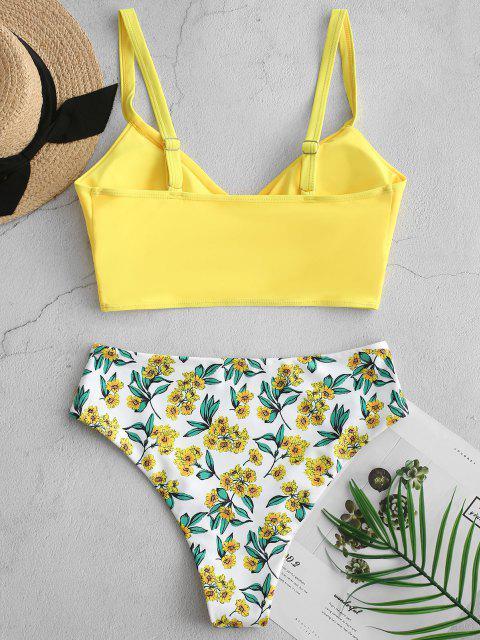 ZAFUL Hochgeschnittener Tankini Badeanzug mit Blumenmuster - Gelb S Mobile