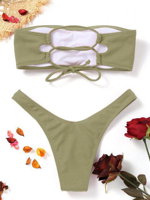 women's High Cut Ribbed Bandeau Bikini Set - PEA GREEN S Mobile