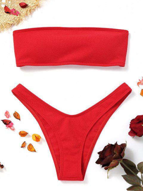 Bikini A Fascia A Costine Con Taglio Alto - Rosso S Mobile