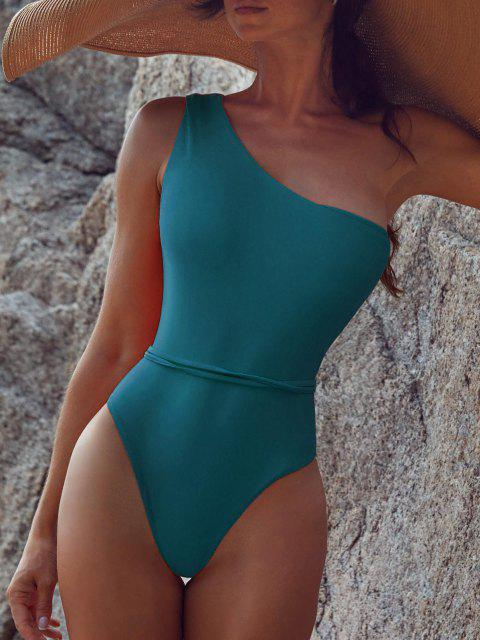 hot Belted One Shoulder One-piece Swimsuit - PEACOCK BLUE L Mobile